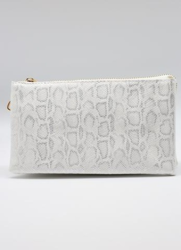 Caroline Hill Snake Shimmer White Crossbody Bag