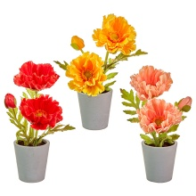 Raz Real Touch Potted Poppies (Yellow)