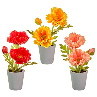 Raz Real Touch Potted Poppies (Peach)