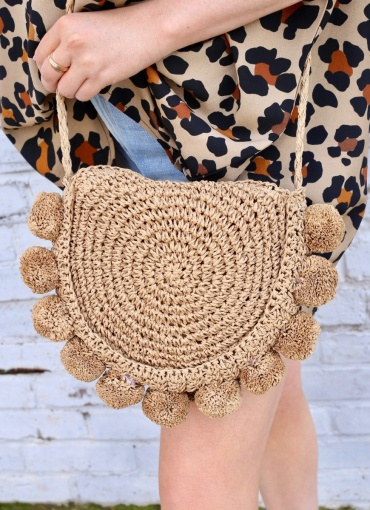 Caroline Hill Natural Pom Pom Crossbody Bag