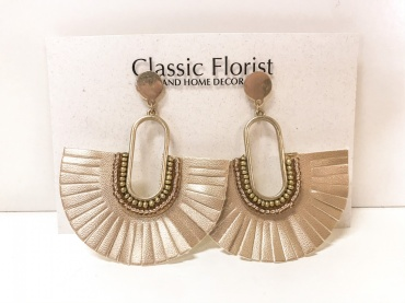 Gold Leather Earrings