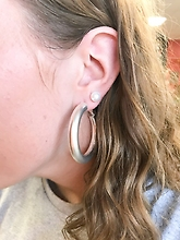 Silver Hoop Earrings Medium