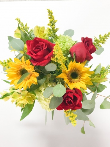 Sunflowers & Red Roses