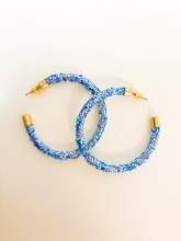 Caroline Hill Blue Opal Sequin Hoop Earrings