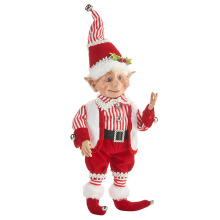 "Raz 16"" Peppermint Stripe Posable Elf"
