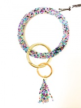 Caroline Hill Dark Multi Seed Bead Keychain with Tassel
