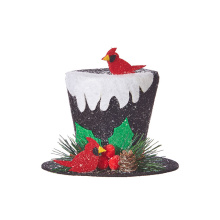 "Raz 5"" Top Hat with Snow Ornament"