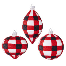 "Raz 6"" Red & Black Check Ornament"