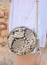Caroline Hill Snake Gold Fleck Round Crossbody Bag