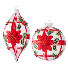 "Raz 4"" Poinsettia with Plaid Ornament"