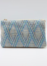 Caroline Hill Straw Blue Lattice Crossbody Bag