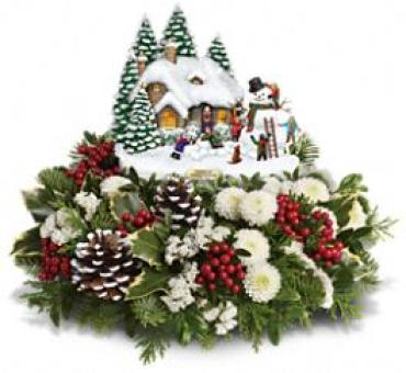 Thomas Kinkade\'s Snowballs & Smiles Centerpiece