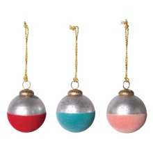 "Creative Co Op 3"" Round Flocked Mercury Glass Ornament"