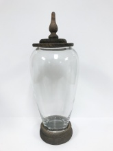 K&K Glass Jar with Wood Lid 17""