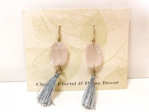 Pink Quartz Grey Tassel Earrings