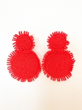 Caroline Hill Red Seed Bead Earrings