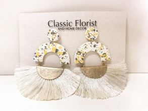 Multi Yellow/Gray/White Tassel Earrings