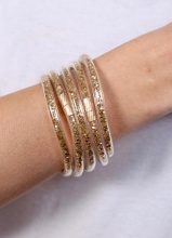 Caroline HCaroline Hill Gold Sequin Glitter Bracelets (Set of 5)