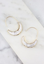 Caroline Hill Gold Trimmed Crescent Stone Earrings