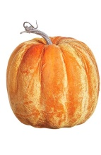 "Raz 7.5"" Orange Velvet Pumpkin"